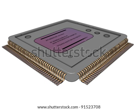 3D-modeled microprocessor representing the notion of high-technology