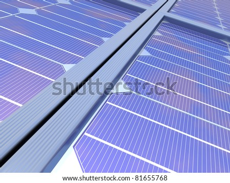 3D-modeled photovoltaic cell, representing notions such as green technologies, sustainable development, alternative energy sources as well as respect of the environment - stock photo