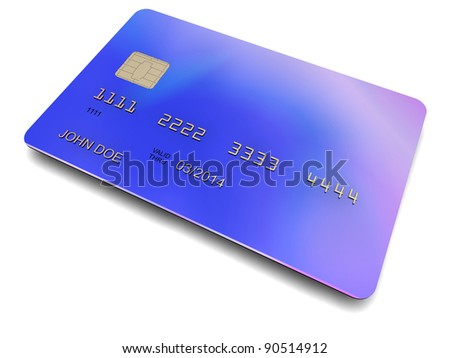3D-modeled plastic card with a chip, cropped on a white background, representing concepts such as payment facilities, membership, authentication and technology - stock photo