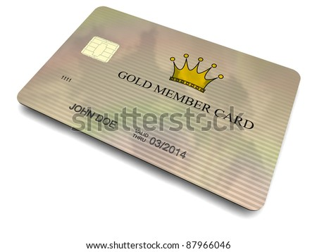 3D-modeled plastic member card with a chip, cropped on a white background - stock photo