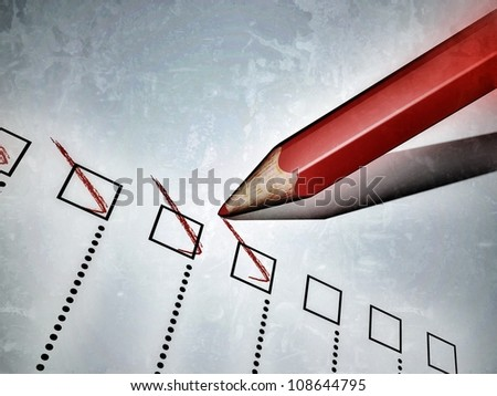 3D-modeled red pencil used to notch a check-list - stock photo