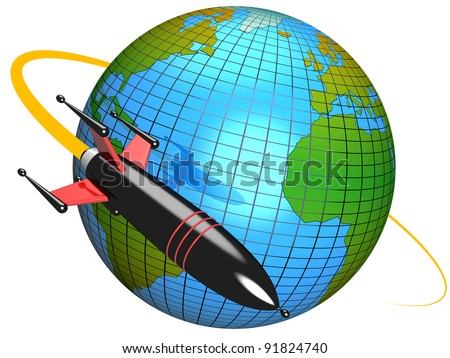 3D modeled representation of a rocket moving around the earth, referring to notions such as technology, science advancements, conquest of space, speed, travel around the world and transportation - stock photo