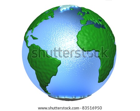 3D-modeled representation of the earth on a white background