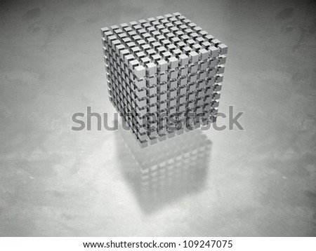3D-modeled set of cubes representing a database - stock photo