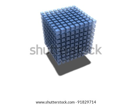 3D-modeled set of cubes representing the notion of data mining - stock photo