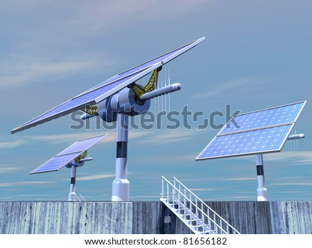 3D-modeled solar plant, representing notions such as green technologies, sustainable development, alternative energy sources as well as respect of the environment - stock photo