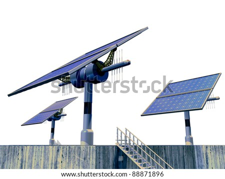 3D-modeled solar plant, representing notions such as green technologies, sustainable development, alternative energy sources as well as respect of the environment
