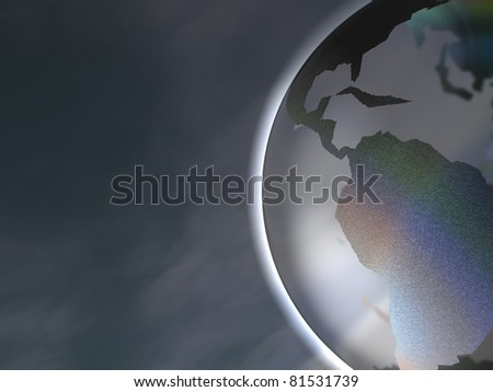 3D-modeled stylized representation of the planet earth on a sky background - stock photo