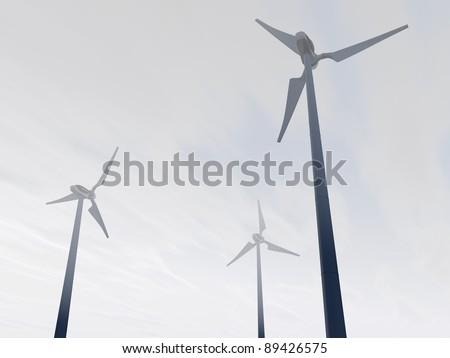 3D-modeled wind plant in a misty environment, representing notions such as green technologies, sustainable development, alternative energy sources as well as respect of the environment - stock photo