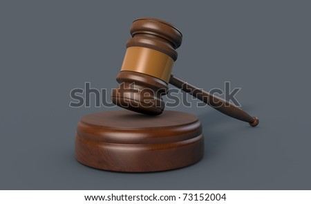 3D modell of a gavel in perspective view - stock photo