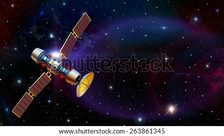 3d models of an artificial satellite in space. Standalone space station in Earth orbit. Supervisory research spy probe. Data from space on Earth. Starship. - stock photo