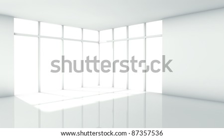 3d modern architecture interior with window - stock photo