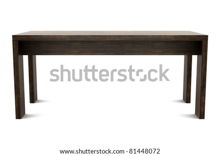 3d modern brown wooden table isolated on white background