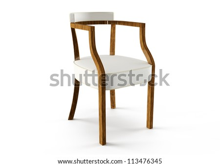 3d modern chair isolated on white - stock photo