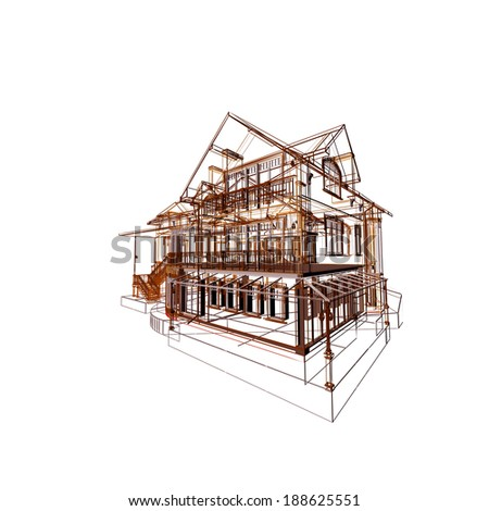 3D modern cottage. - stock photo