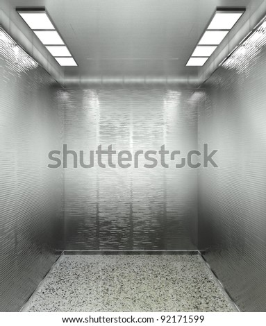 3d modern elevator interior with illumination - stock photo