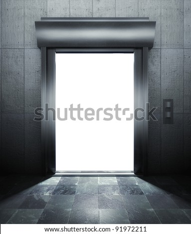 3d modern elevator with open door and empty frame - stock photo