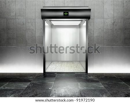3d modern elevator with open door, illuminated - stock photo