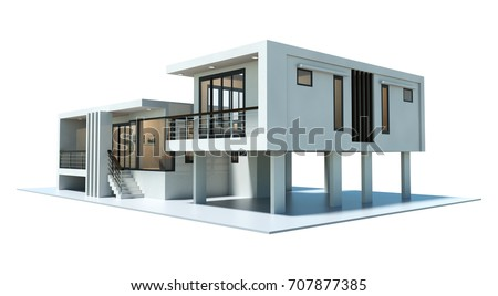 3d modern house rendering isolated on white background