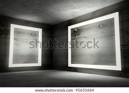 3d modern interior corner with white empty frames - stock photo