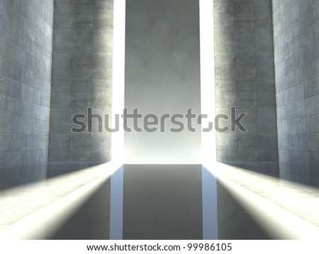 3d modern interior, empty stage - stock photo
