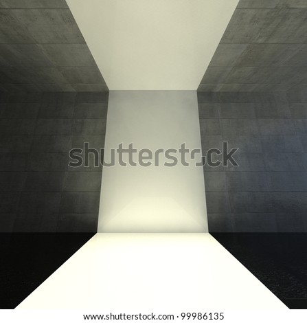 3d modern interior, empty stage - stock photo