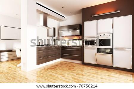3d modern kitchen - interior render - stock photo