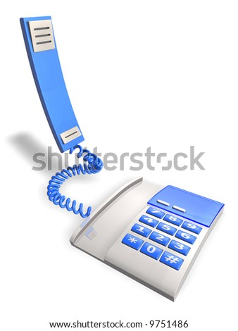 3d modern phone with lift up receiver on white background, isolated - stock photo