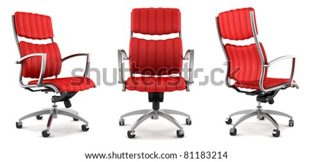 3d modern red office chair isolated on white background - stock photo