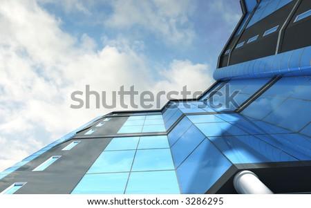 3d modern skyscraper - stock photo