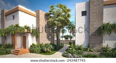 3D Modern Villa - stock photo