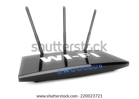 3d Modern WiFi Router on a white background - stock photo