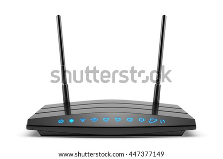 3d modern wireless wi-fi black router with two antennas and blue indicators isolated on white. High speed internet connection, firewall computer network and telecommunication technology concept - stock photo