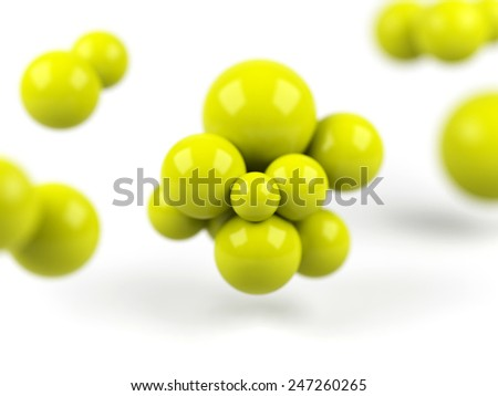 3d molecule isolated on white background - stock photo