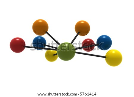 3d molecules isolated on white background