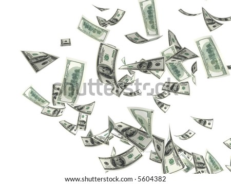 3d money falling in the white background