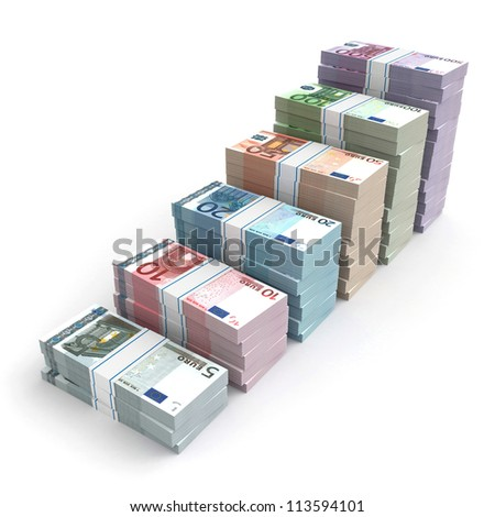 3d money graph - euro version - stock photo