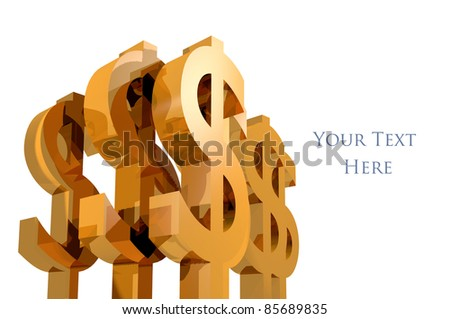 3D Money Symbol isolated white background - stock photo