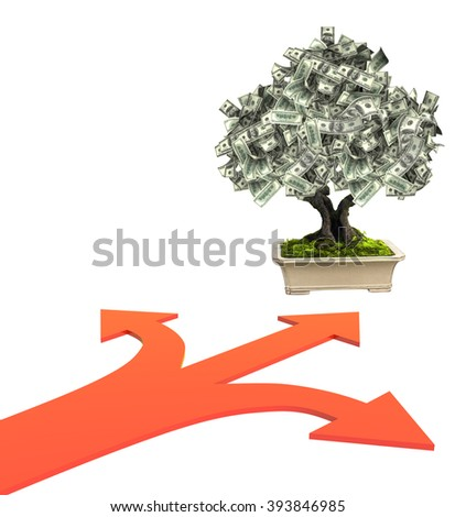 3d money tree dollar banknotes and three bound arrows of red color, specifying different directions. Isolated on white background - stock photo