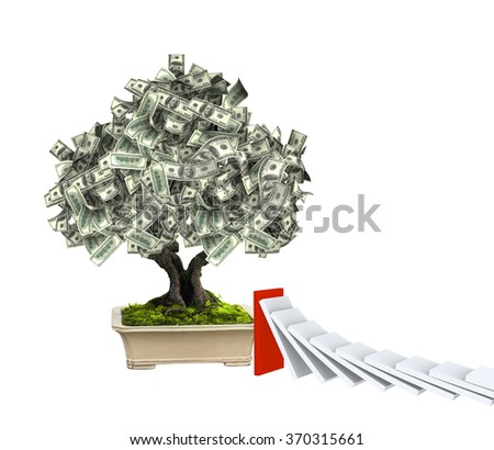 3d money tree with dollar banknotes and domino effect. Isolated on white background - stock photo