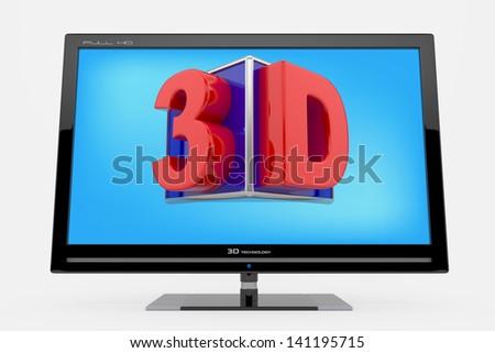 3d monitor, TV concept - stock photo