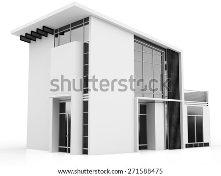 3d monochrome modern house on white background  - stock photo