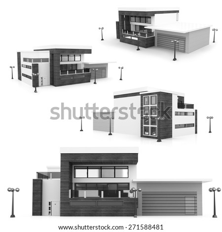 3d monochrome modern house on white background