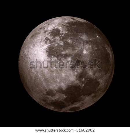 3D - moon in the black sky without stars - stock photo