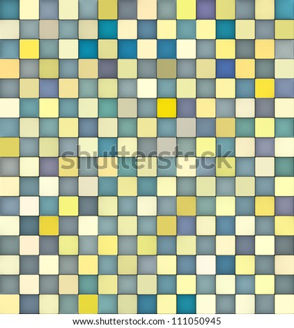 3d mosaic backdrop in shade of yellow and blue - stock photo