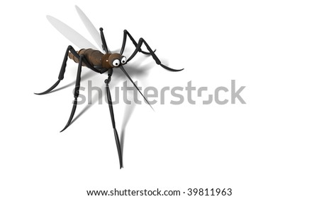 3d mosquito on white background - stock photo