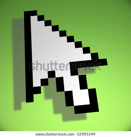 3d mouse cursor on green background - stock photo
