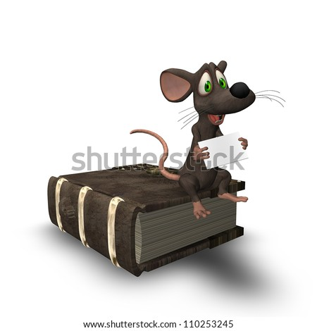 3D mouse sitting on an ancient book holding a small blank sign