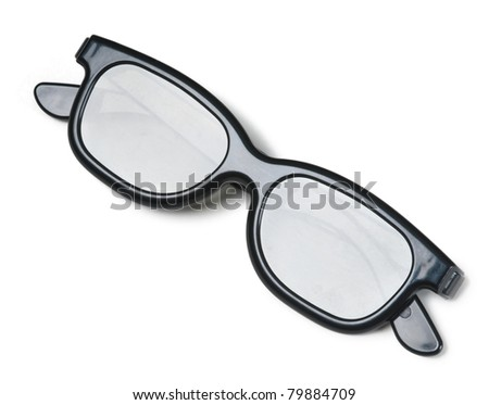3-D movie glasses folded and shot isolated on a white background - stock photo