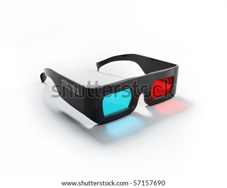 3D Movie Glasses in white background - stock photo
